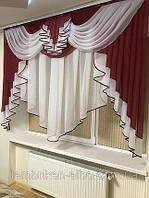 Тюль с ламбрекеном 2м Милена бордовый  (С.У.)