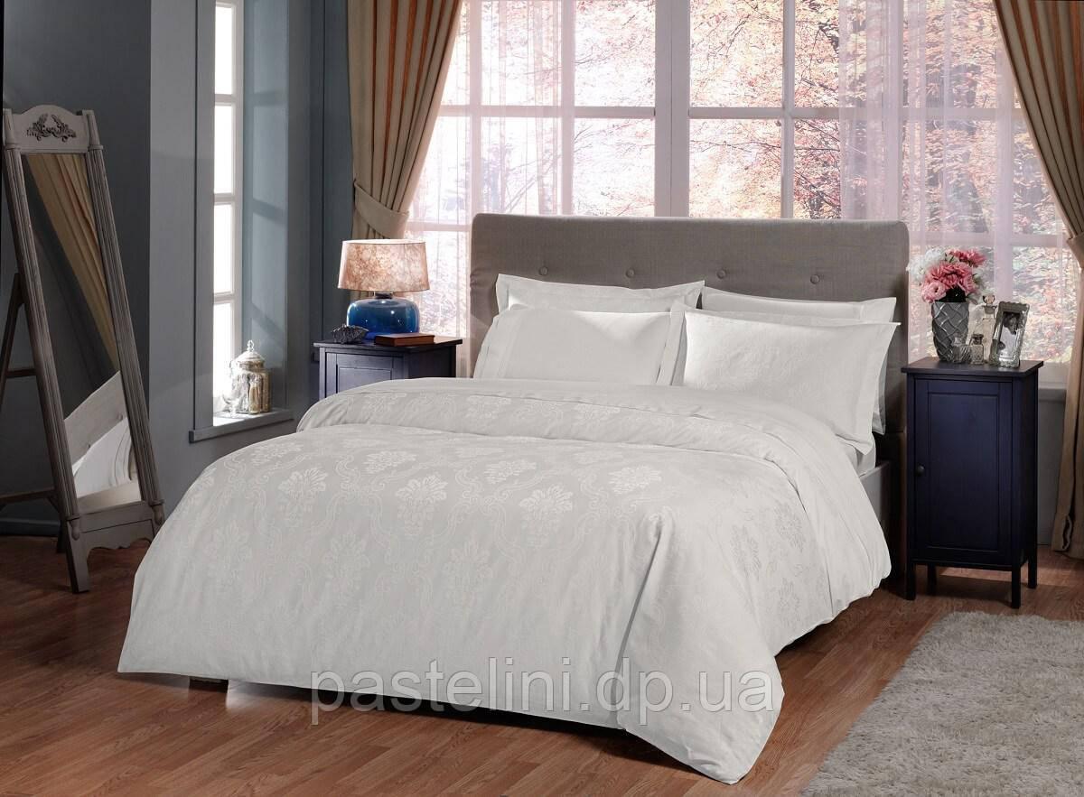 TAC Violetta white жаккардовый комплект постельного белья