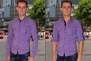 Мужская рубашка фиолетовая в мелкую клетку