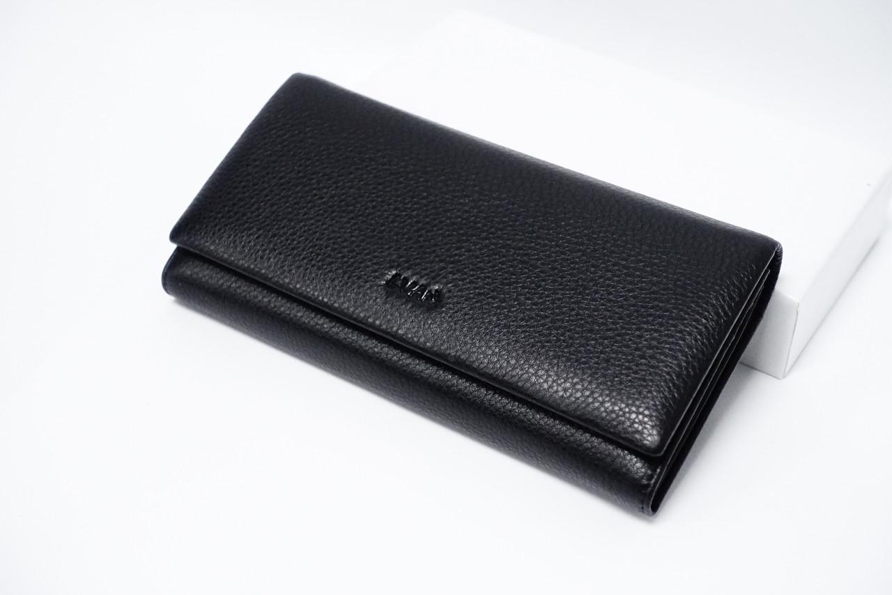 Кошелек кожаный на магните Lvan 06-223-01 черный