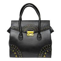 Женская сумка Felicita 650 из натуральной кожи итальянская фабричная черного цвета на клапане