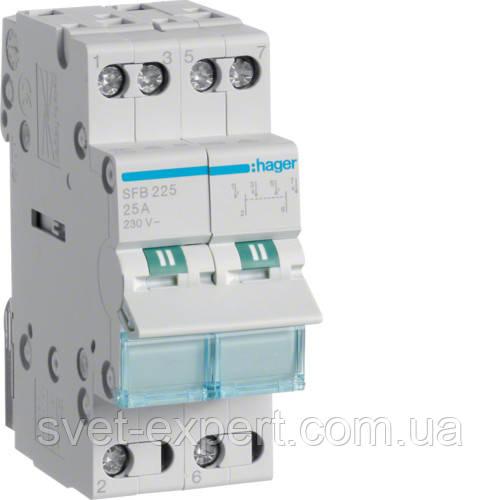 Перемикач I-0-II з загальним виходом знизу Hager SFB225 , 2-пол., 25А/230В