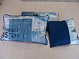 Комплект подушек Синие надписи 3шт с кантом, фото 2