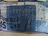 Комплект подушек Синие надписи 3шт с кантом, фото 3