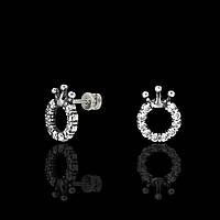 Серебряные серьги-пусеты с камнями Корона