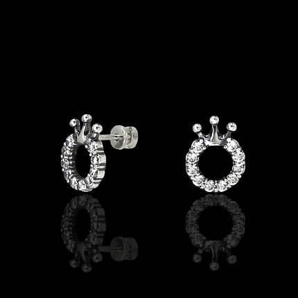 Серебряные серьги-пусеты с камнями Корона, фото 2