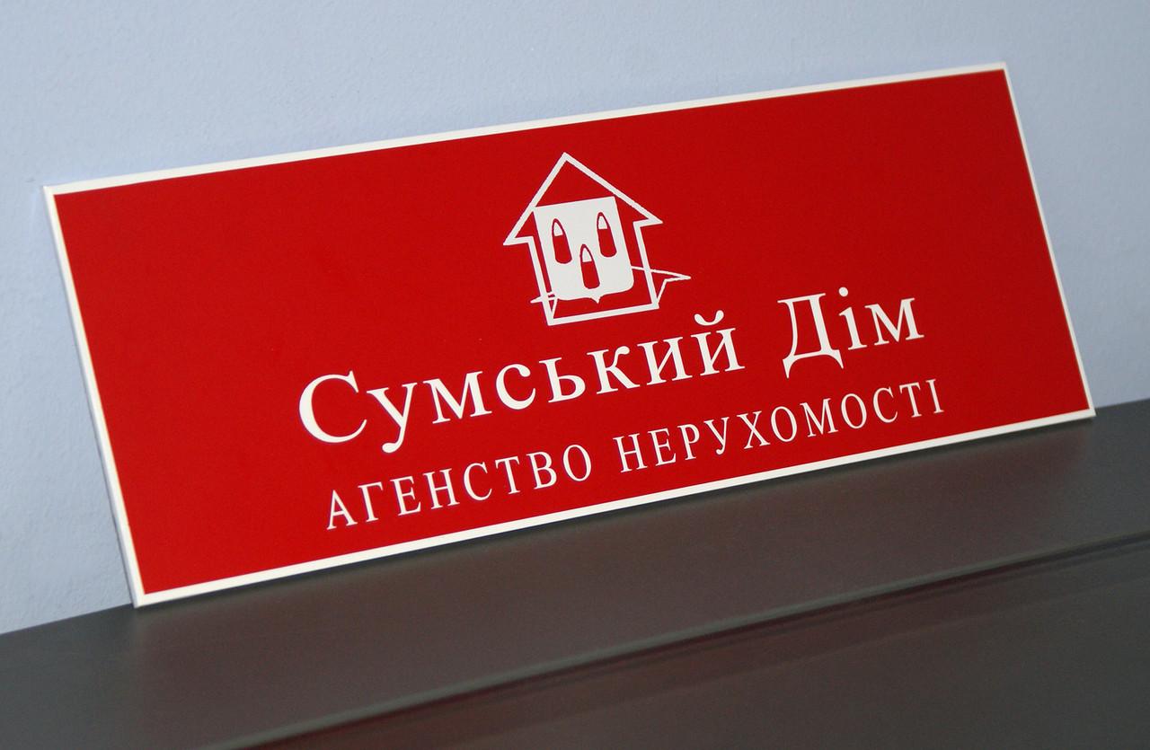 Табличка кабинетная красная + белый
