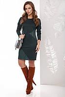 Стильное прямое платье с асимметричными вставками из эко кожи, длинный рукав темно-зеленое