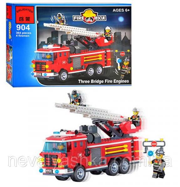 Конструктор Brick Enlighten Fire Rescue Пожарная машина, 364 дет., 904, 002747