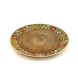 Десертна тарілка з глини, коричнева