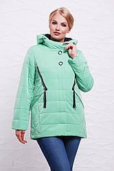 Модная демисезонная женская куртка с капюшоном и молниями мятная,большие размеры Куртка 17-136
