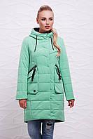 Женская длинная демисезонная куртка с капюшоном и объемными карманами цвет мята Куртка 17-137