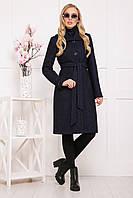 Классическое женское демисезонное пальто шерстяное на пуговицах с поясом П-319 черное (1306)