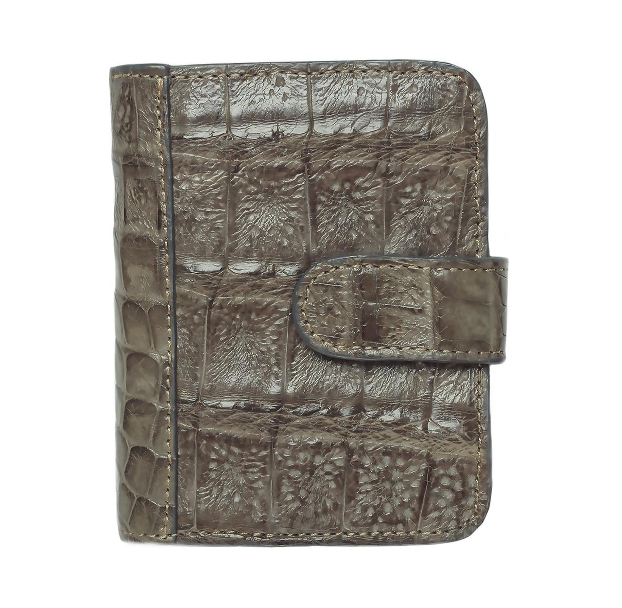 Визитница, держатель для карт из кожи крокодила Серый (crc02)
