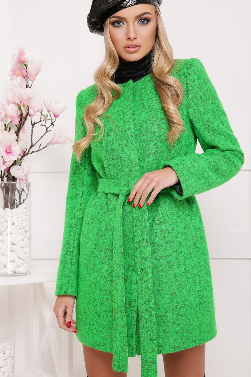 Короткий вовняне пальто жіноче демісезонне П-337ш зелене (1504)
