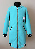 Детское пальто кардиган для девочек бирюзовое, фото 1