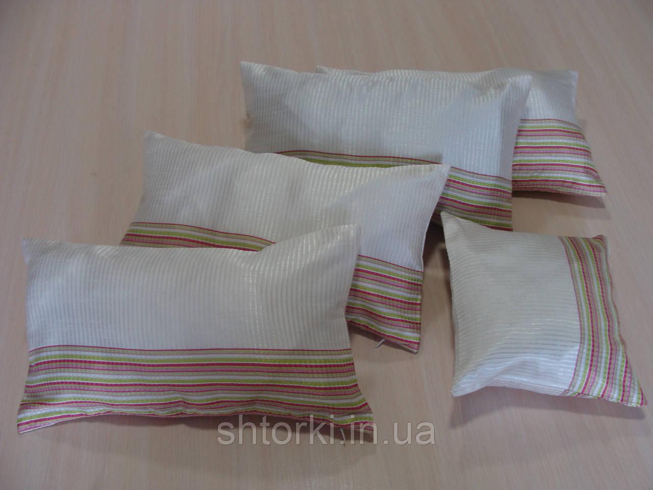Комплект подушек полоска салатовая 5шт молочные