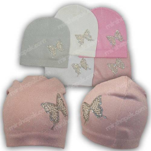 Вязанная шапка для девочки, р. 50-52