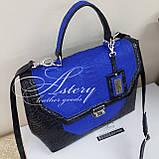 Женская черная классическая сумка с синим питоном, фото 2