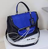 Женская черная классическая сумка с синим питоном, фото 4