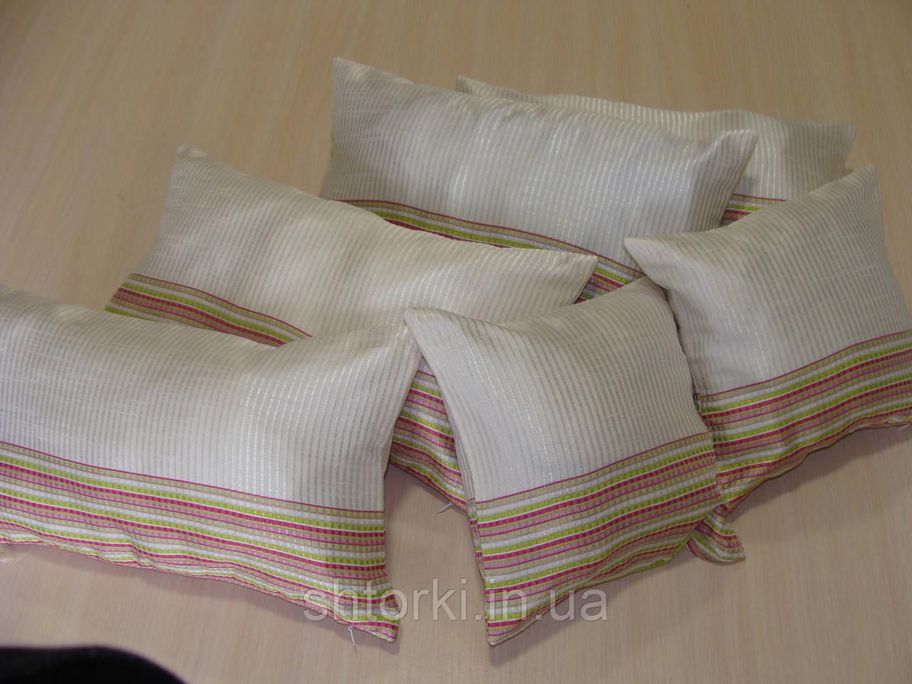 Комплект подушок смужка салатова 6шт молочні