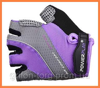 Велоперчатки женские фиолетовые