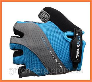 Велоперчатки женские голубые