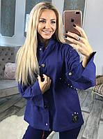 Стильная женская джинсовая куртка с отделкой из паеток, нашивки и шипов синего цвета. Арт -6069/91