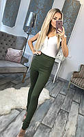 Стильные женское джинсы с застежкой змейка сзади зеленого цвета . Арт-6070/91