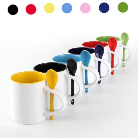 Чашка цветная  с цветной ложкой желтый