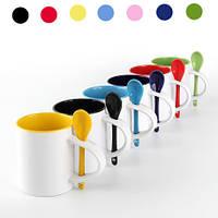 Чашка цветная  с цветной ложкой