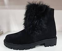 Кожаные ботинки Ушки Мех на девочку детская подростковая обувь Размер 28-34