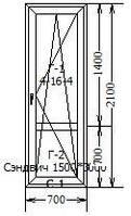 Балконная металлопластиковая дверь. Профиль КВЕ, 3-х камерный, 58 мм. (Классика).