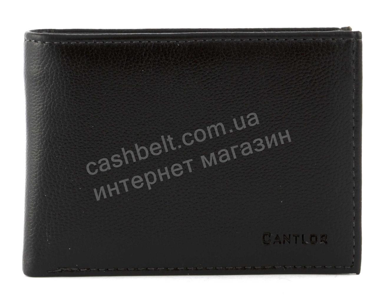 Шкіряний чорний акуратний чоловічий гаманець з затиском для грошей CANTLOR art. G-161C чорний