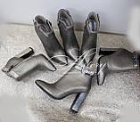 Модные бронзовые ботильоны из кожи и питона на тостом каблуке, фото 4