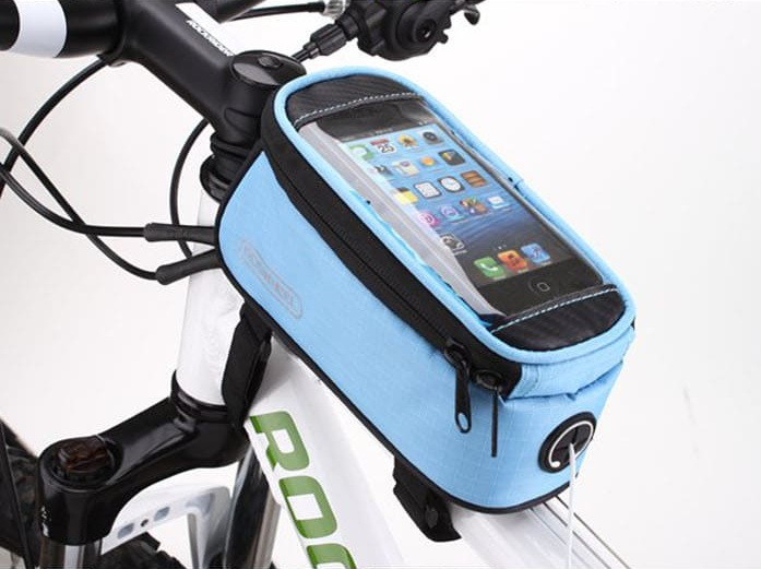 Велосипедная сумка Roswheel велосумка на раму, телефон 4.8-5.5, 1.7L. Голубая.