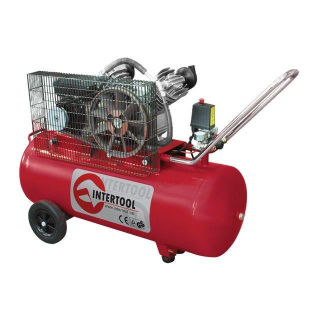 INTERTOOL Компрессор 100 л, 3 кВт, 220 В, 8 атм, 500 л/мин, 2 цилиндра, Арт.: PT-0014