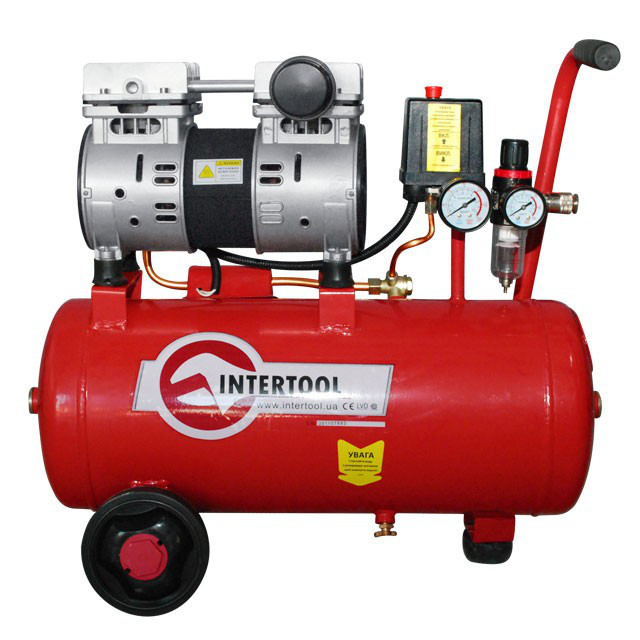 INTERTOOL Компрессор 24 л, 1.1 кВт, 220 В, 8 атм, 145 л/мин, малошумный, безмасляный, 2 цилиндра, Арт.:PT-0022