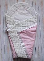 Конверт Одеяло для девочек весна лето осень 80х80см Розовый горох