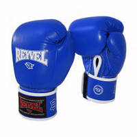 Боксерские перчатки REYVEL Кожа синие 12унц