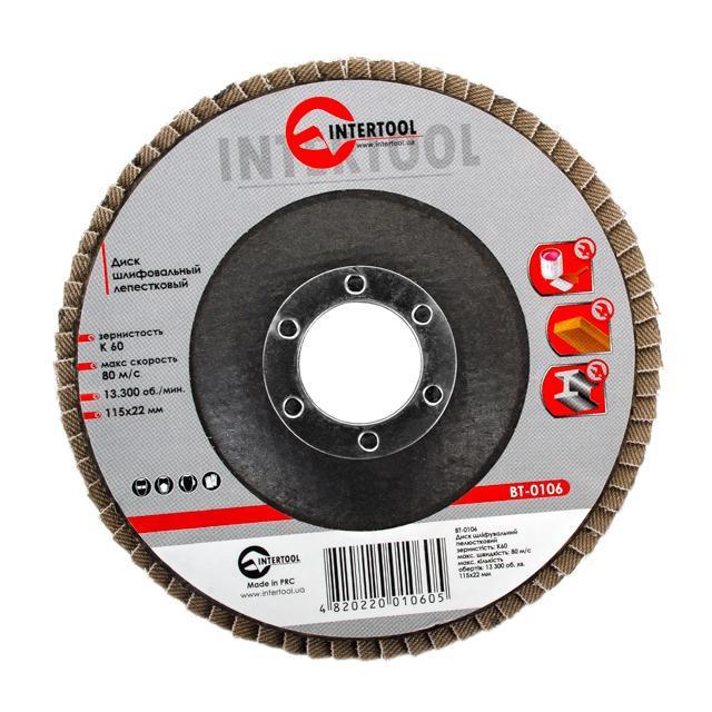 INTERTOOL Диск шлифовальный лепестковый 115x22 мм, зерно K60, BT-0106