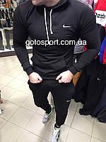 Спортивный мужской костюм Nike black с капюшоном, фото 1