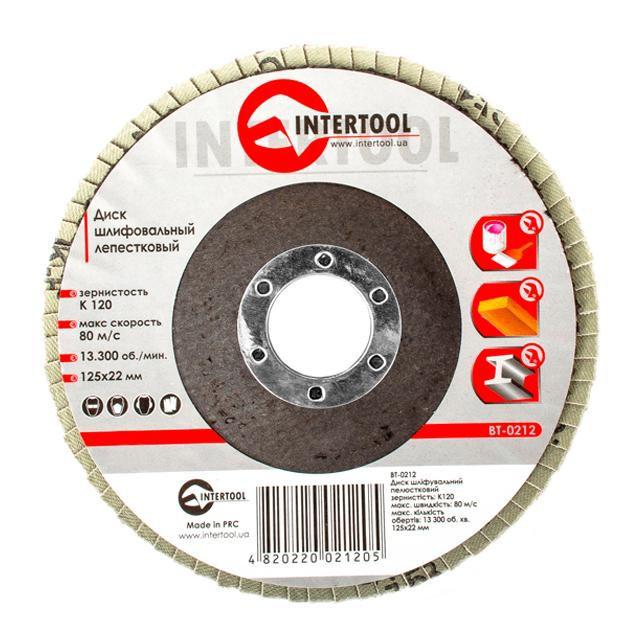 INTERTOOL Диск шлифовальный лепестковый 125x22 мм, зерно K120, BT-0212