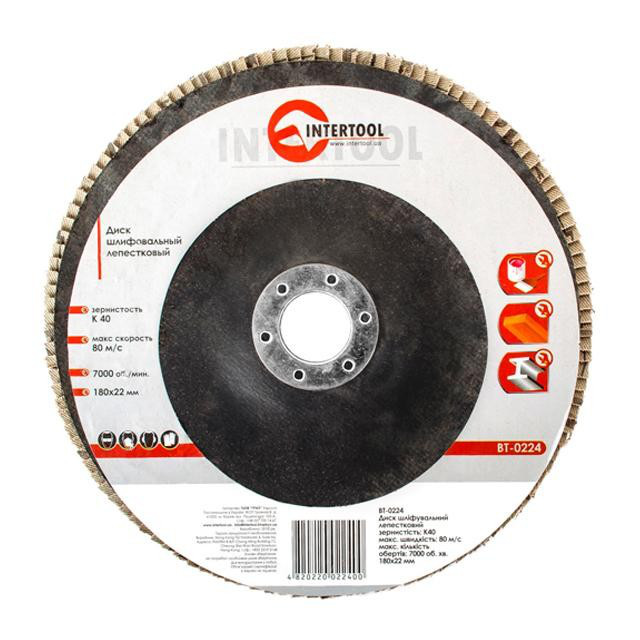 INTERTOOL Диск шлифовальный лепестковый 180x22 мм, зерно K40, BT-0224