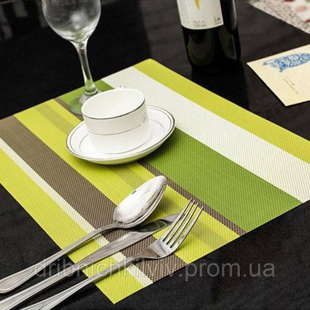 Комплект из 4-х сервировочных ковриков. Зеленый