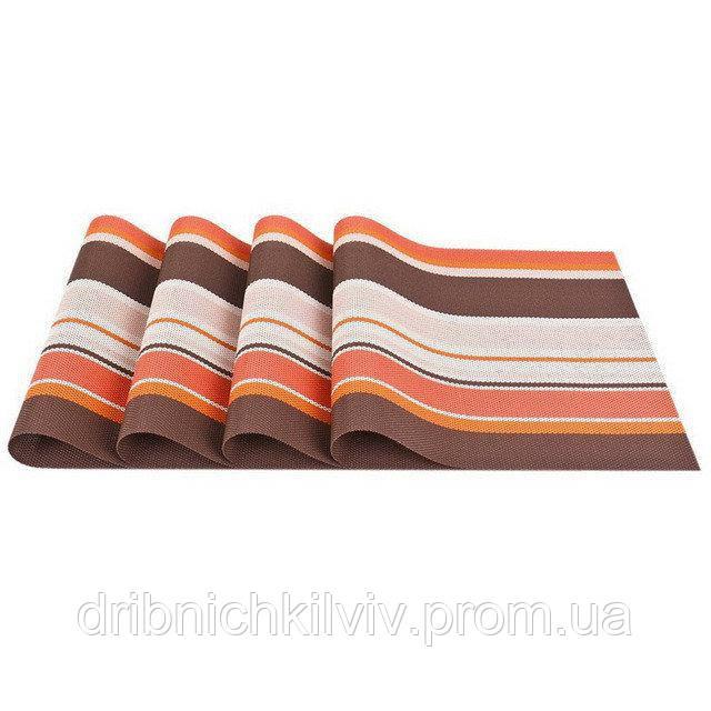 Комплект из 4-х сервировочных ковриков. Оранжевый