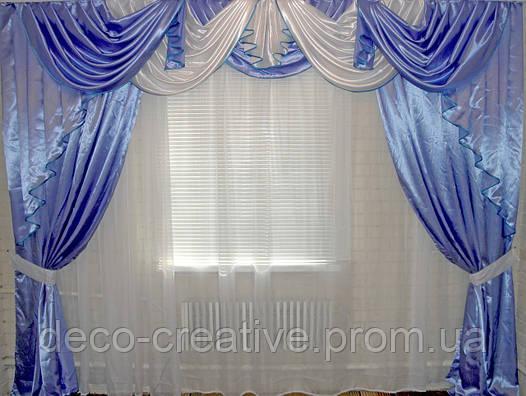 Ламбрекен и шторы из атласа 3 метра №19. Цвет голубой