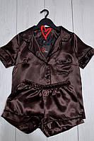 Модная пижама рубашка и шорты атласная