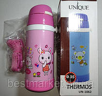 Термос детский UNIQUE UN-1062 с трубочкой поилкой 0.35л