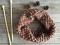 Вязаный зимний шарф снуд хомут, коричневый шарф, хомут воротник, мужской шарф, объёмный снуд